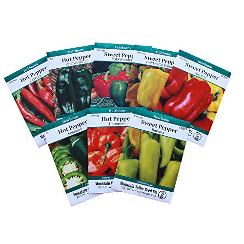 Heirloom Sweet & Hot Pepper Garden Seed Collection - Non-GMO: 8 Varieties - Big Red, Anaheim Chili, Habanero, Jalapeno, Cayenne, More (Best Sweet Pepper Varieties)