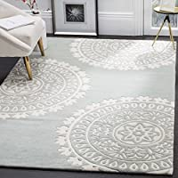 Safavieh Bella Collection BEL121A Handmade Grey and Ivory Premium Wool Area Rug (4' x 6')