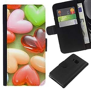 BearCase / Cuero de la tarjeta la carpeta del tirón Smartphone Slots Protección Holder /// HTC One M9 /// Amor Candy Love