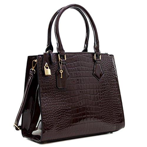 Dasein Patent Faux Leather Croco Embossed Tote Satchel Briefcase Shoulder Bag Handbag Purse - Coffee