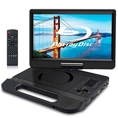FANGOR 12.5″ 1080P Portable Blu-Ray Player with 10.1″ HD Swivel Screen, HDMI Out & AV in, Multi Media Player, 5 Hours Rechargeable Battery, Supports USB/SD Card, Last Memory, Region Free
