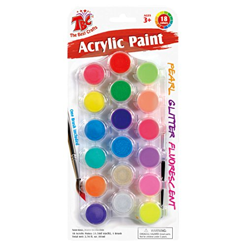 TBC The Best Crafts 18 Colors Acrylic Paint Pots Set with Brush, Assorted Neon, Glitter, and Pearl Colors Strip Painting Set