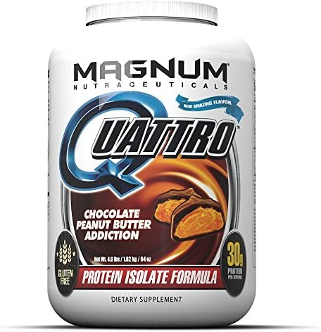 Magnum Nutraceuticals Quattro Chocolate Peanut Butter Addiction-Free Protein Powder for Men Women 4 lbs.