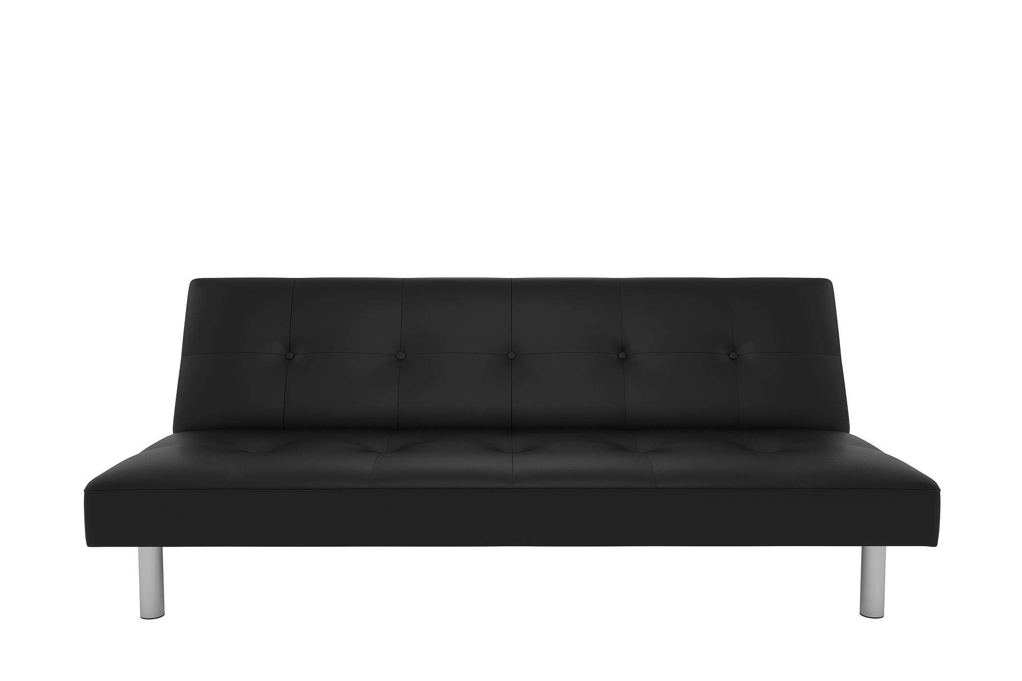 DHP Nola Futon Couch with Tufted Faux Leather Upholstery, Modern Style, Black Faux Leather by DHP