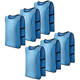 COSMOS Team Practice Pinnies Scrimmage Vests Sport Jerseys Vests With Flexble Straps For Adult, Pack Of 6 Pcs (Light Blue)