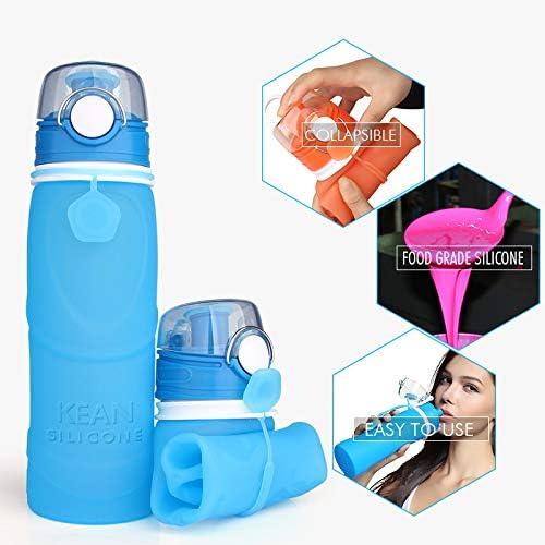 RYHX 800ML Botella de Agua Plegable Taza de Bebida de Silicona a Prueba de Fugas Reutilizable port/átil Taza de Viaje Deportiva sin BPA