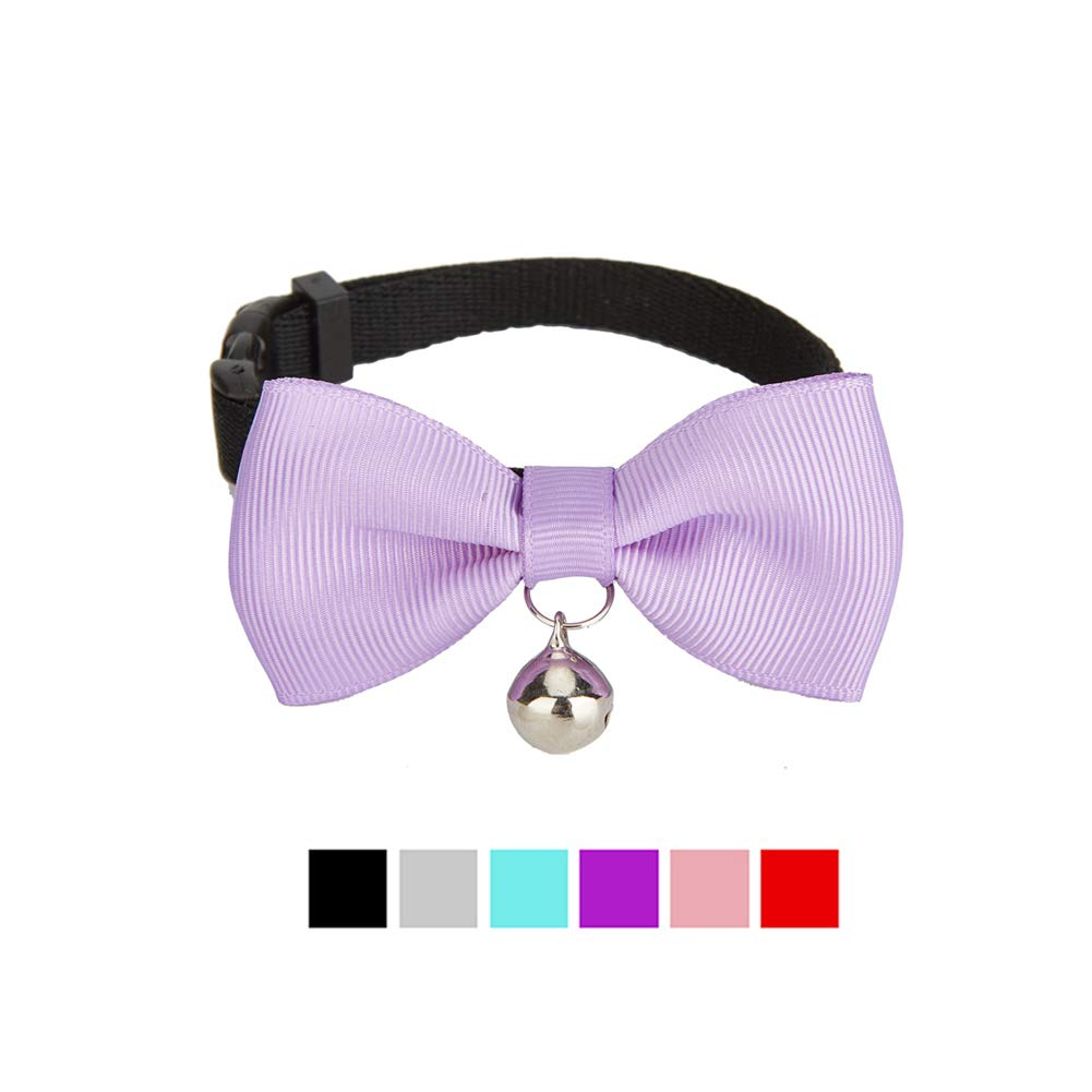 Olahibi Classic Solid Color Series Cat Collar with Handmade Bowtie for Cats and Small Dogs S, Grey