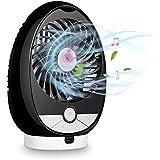 Qoosea USB Desk Fan Bluetooth Speaker Fan (3-Speed) Personal Handheld Fan Table Fan Battery Operated Fan Rechargeable Mini Quiet Small Fan Support TF 64GB with integrated Bluetooth Speaker(Black)