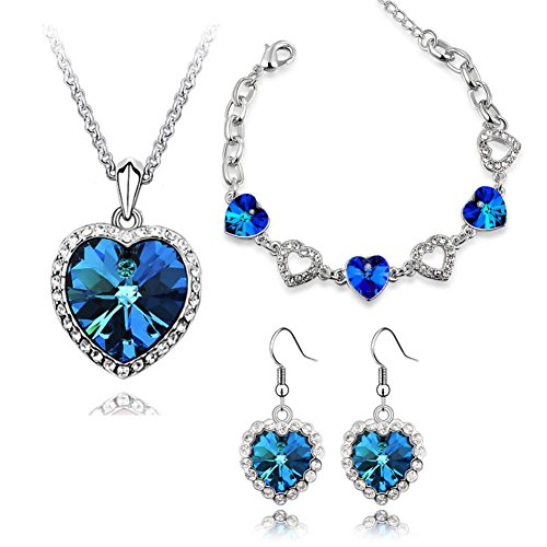 ISAACSONG.DESIGN Silver Tone Healing Crystal Rhinestone Drop Pendant Necklace, Bracelet, Earring Set for Women (Ocean Blue Love Heart Set) (Drop Earring Heart Set)