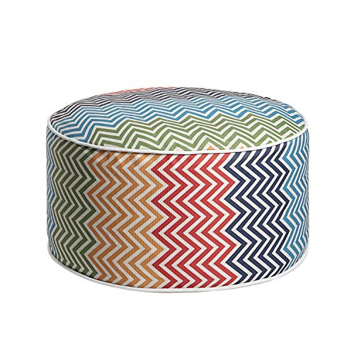 Art Leon Outdoor Inflatable Ottoman Irised Prints Round Patio Footstool for Kids and Adults, Patio, Deck, Front Porch, Backyard, Garden ()