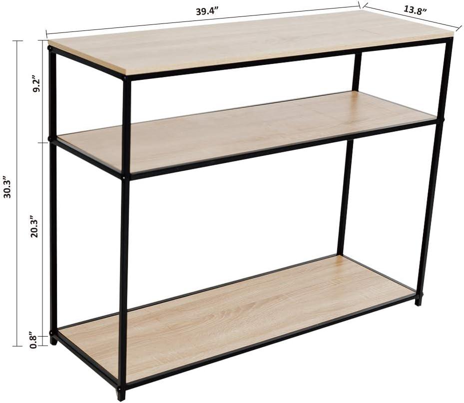 Black Metal C-Hopetree Console Entry Table for Entryway Hallway Sofa Storage Shelf