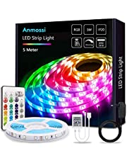 LED Strip 5m/10M, Anmossi RGB LED Strip with Remote Control, Color Changing and Dimmable LED String Lights,SMD 5050 LED Chips Lighting LED Strip for Home, Bedroom, Party Decoration