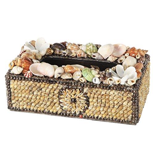 (Benzara BM185971 Beautifully Decorated Plywood Tissue Box with Natural Seashells, Multicolour)