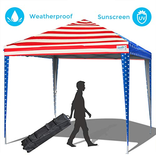 (Quictent 10x10 Pop up Canopy Tent Commercial Instant Shelter Waterproof with Wheeled Carry Bag (American Flag) )