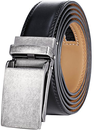 Mens Elegance Black Dial - Marino Avenue Men's Genuine Leather Ratchet Dress Belt with Linxx Buckle - Gift Box (Chrome Vintage Buckle With Black Leather, Adjustable from 28