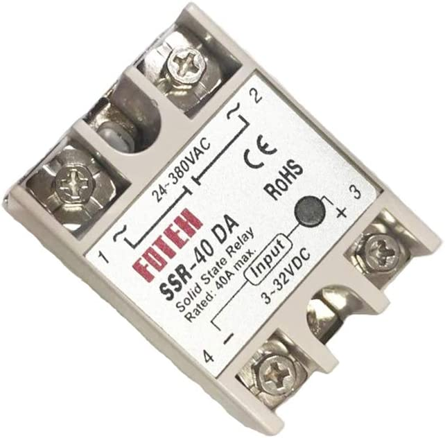 KKmoon Relé de estado sólido Módulo 24V-380V 40A SSR-40 DA para el regulador PID de temperatura 3-32V CC a CA
