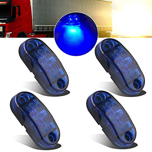 4pcs 12-24V Blue Side marker Lights Indicator of Position Lamp Front Rear Side Light 6000K Waterproof Universal for Car Trailer Truck Caravan Van Lorry Motorcycle:
