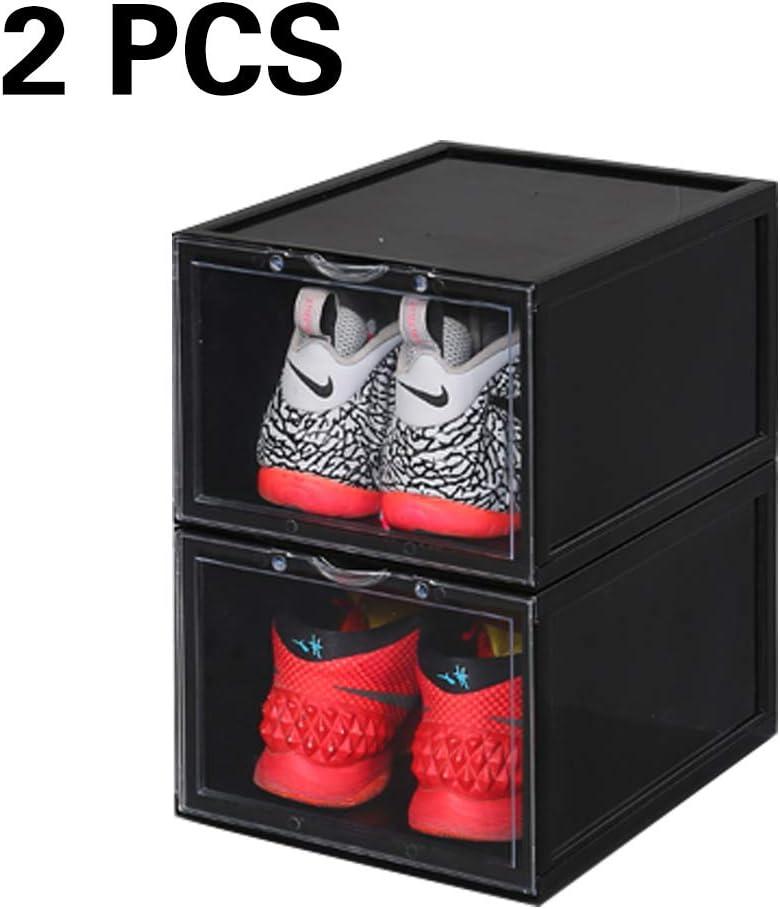 /D Style Transparent, 1 PCS K.T.Z Magnetic Side Open Transparent Plastic Storage Shoe Box Stackable Foldable Storage Shoe Box Sneaker Storage Box Clear Plastic Shoe Boxes Size:14.2X11X8.7 Inch