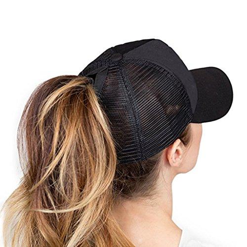 6543e1c5 Hatsandscarf C.C Messy Buns Damaged Denim Fabric Trucker Hat with ...