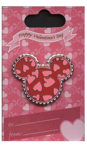 (Disney Pin - WDW - Mickey Mouse Icon - Hearts - Valentine's Day -)