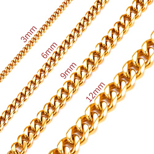 Richsteel Long Cuban Curb Chain Necklace 30 Inch 3mm Wide 18K Gold Plated Stainless Steel Men Jewelry Hip Hop ()