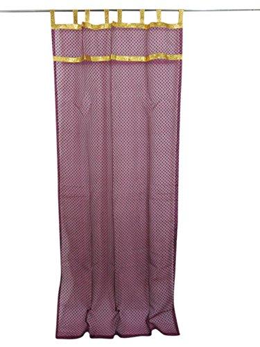 2 Curtains Sheer Self design Purple Indiatrendzs Golden Tabs Window Treatment (Length:84″) Review