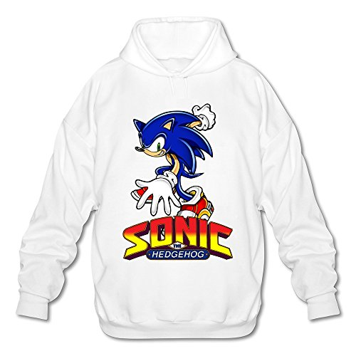 JeFF Men's Sonic The Hedgehog ACT Long Sleeve Sweatshirt Hoodies White Medium (US -