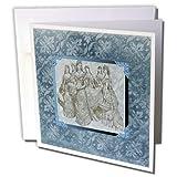 3dRose Vintage Wedding Party Flower Design Framed, Blue Greeting Cards, 6' x 6', Set of 6 (gc_192545_1)