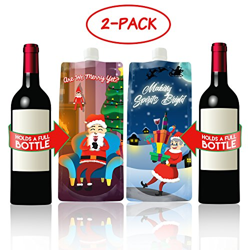 Santa and Mrs. Claus Wine to Go- 2 Foldable, Portable Wine Bottle Flasks (2-Pack)- Funny, Novelty Christmas Party Drink Carriers – Holiday Gag Gifts Stocking Stuffer (750 ml ea.)