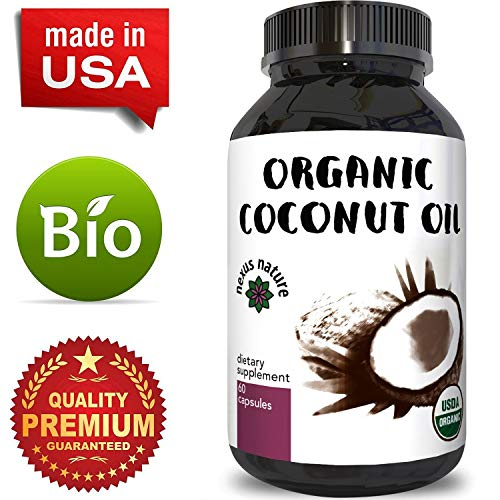 100% Pure Coconut Oil Softgels for Skin and Hair Organic Fatty Acids for Men and Women Fat Burning Weight Loss Pills Boost Energy Metabolism and Immunity Anti-Aging Dietary Supplement by Nexus Nature ()