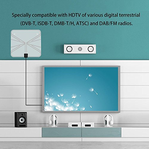 Amplified HDTV Antenna- Chapter Seven Digital Indoor TV Antenna, 50 Mile Range with Detachable Amplifier, 16.4 Ft Copper Coaxial Cable and USB Power Supply-Clear by Chapter Seven