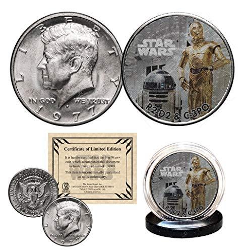 (R2-D2 / C-3PO - STAR WARS Officially Licensed 1977 JFK Half Dollar U.S. Coin)