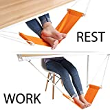 Foldable Office Foot Rest with Adjustable Durable Strap Foot Hammock to Relieve Tendon Pains and Improve Blood Circulation Foot Rest for Airplane Traveling-Orange