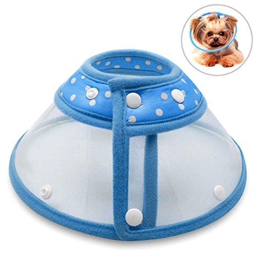 Hundehalsbänder Halskrausen Kegel, PETBABA Gepolstert Elisabethanisch Hunde Halsband für Welpen Kätzchen Blau S