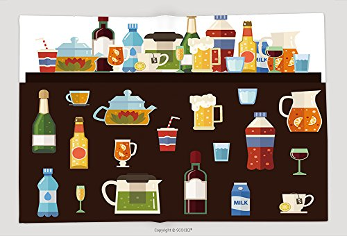 Supersoft Fleece Throw Blanket Alcoholic Drinks And Non Alcoholic Drinks With Bottles And Glasses Isolated Vector Set Of 377809918