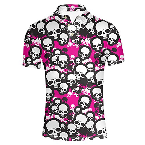 HUGS IDEA Unisex Adult Golf Polos Shirt Skull Slim Fit Short Sleeves Classic T-Shirts Tee Tops