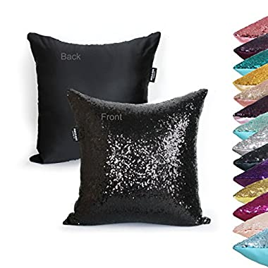 AMAZLINEN(TM) Decorative Glitzy Sequin & Comfy Satin Solid Throw Pillow Cover 18 Inch Square Pillow Case, Hidden Zipper Design, 1 Cover Pack Only(Black)