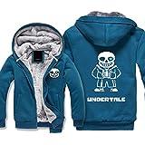 MaeFte Undertale Sans Long Sleeve Full Zipper Double Pocket Winter Hoodie Jacket (L, Blue)