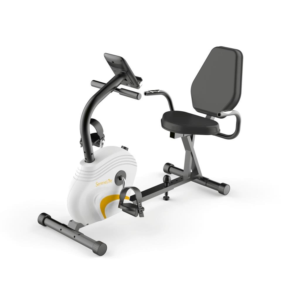 SereneLife Exercise Bike - Recumbent Stationary Bicycle Pedal Cycling Trainer Fitness Machine Equipment w/Built-in Digital Console for Workout, Weight Loss, Fitness & Health at Home & Office(SLXB3) by SereneLife (Image #1)