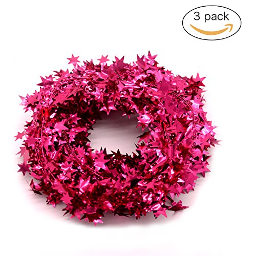 JINZAN 3PCS Wire Star Garland Tinsel Stars Garland Christmas Decorations Party Accessory,25 Ft x 3 (pink) by JINZAN