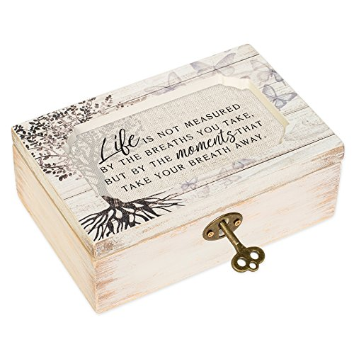 Trinket Box Musical - Life Moments White Wash Butterfly Tree Petite Decoupage Music Box Plays What a Wonderful World