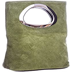 LiaTalia Plain Italian Suede Leather Top Handle Small Foldable Evening Purse Clutch Bag with Dust Storage Bag - Rhea (Medium Olive)