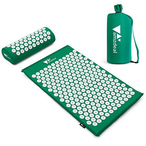 🥇 Amzdeal Esterilla Acupresion Kit con Almohda y Bolsa para Acupuntura y Moxibustión Yoga