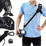 PUBAMALL Correa para el Cuello para el Hombro para Canon, Nikon, DSLR, Olympus, Pentax, Panasonic y Sony Camera (Black)