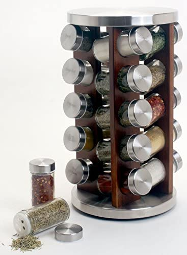 Orii 20 Jar Acacia Revolving Spice Rack, 8.5 x 8.5 x 14, Dark wood stain
