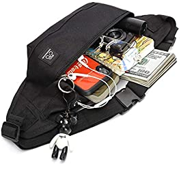 Fanny Packs for Women & Men Unisex Waist Bag Pack with Headphone Jack and Zipper Adjustable Strap Black Fanny Pack for Outdoors & Gym