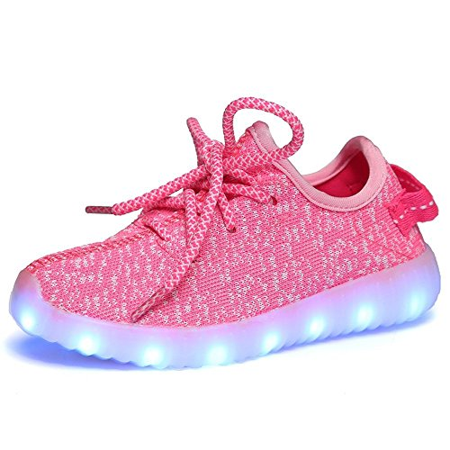 Boys Girls 7 Colors LED Luminous Knit Sneakers Fashion USB Charging Light Shoes 13 M US Little Kid,Pink