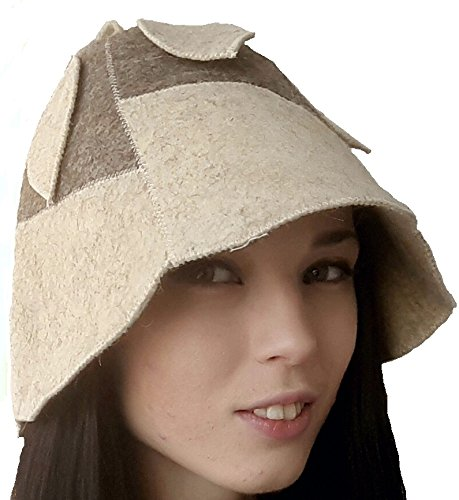Sauna Hat Cap from Real Sheep's Wool Felt for Russian Banya Finnish Hot Dry Steam Room Bath House Stylish Accessory Women model Tulip Great Gift Holiday Item Made in Russia ()