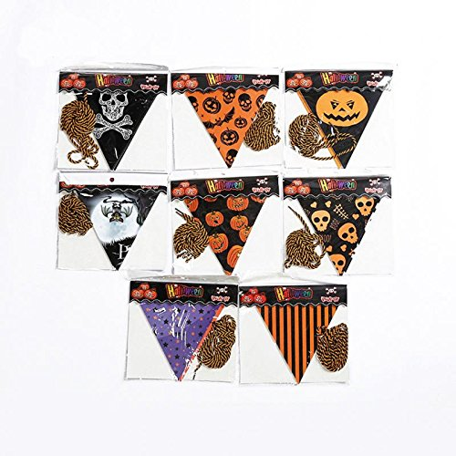 YJBear 8 PCS Happy Halloween String Banner Flag Pumpkin Ghost Triangle Paper Flag Party Decoration