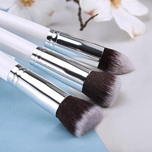 10Pcs Professional Makeup Brushes Premium Makeup Brush Set Synthetic Kabuki Cosmetics Foundation Blending Blush Eyeliner Face Powder Brush Makeup Brush Kit(A Variety Of Color) (White Silver)